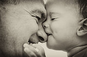 Grandfather and grandson. black and white. Fokus on child