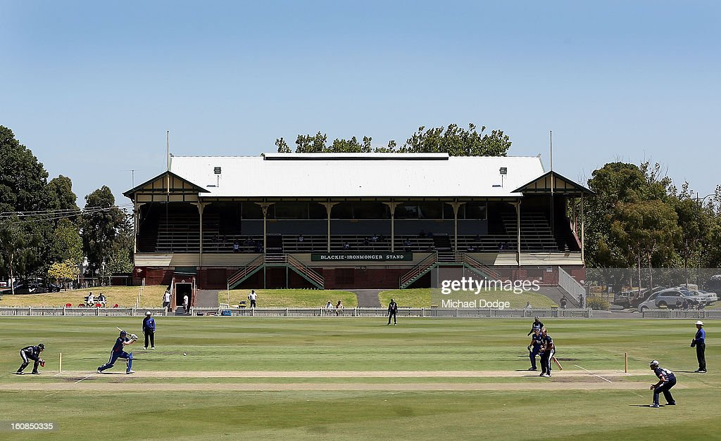 A genereal view as Rikki Clarke of the England Lions hits the ball off the bowling of Cameron White of Victoria during the International tour match between the Victorian 2nd XI and the England Lions at Junction Oval on February 7, 2013 in Melbourne, Australia.