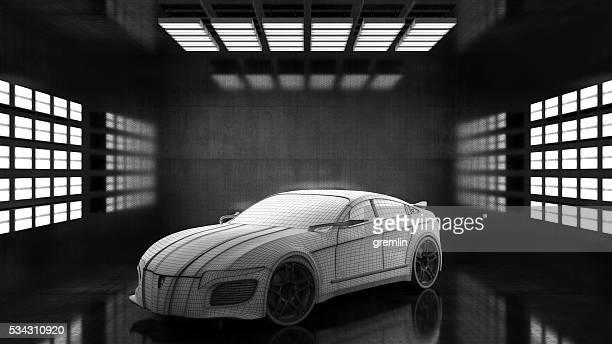 Generic conceptual sports car in studio