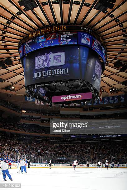Generic image of a Hockey Fights Cancer logo on the jumbotron during Hockey Fights Cancer Awareness Night at Madison Square Garden during the game...