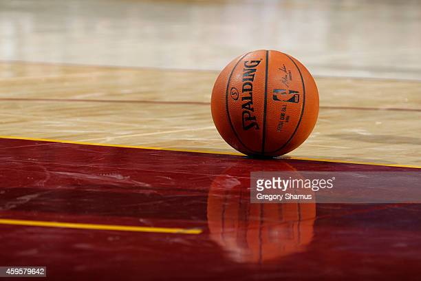 A generic look of the @NBA game ball used in the game of the Cleveland Cavaliers against the San Antonio Spurs at The Quicken Loans Arena on November...