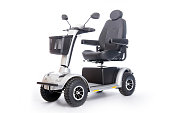 generic electric mobility scooter for disabled or elderly people against white background in studio