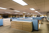This image depicts an empty office ready for occupation by a workforce or company.  It is a typical cubicle environment with many windows for bringing in the outside world to a work space.