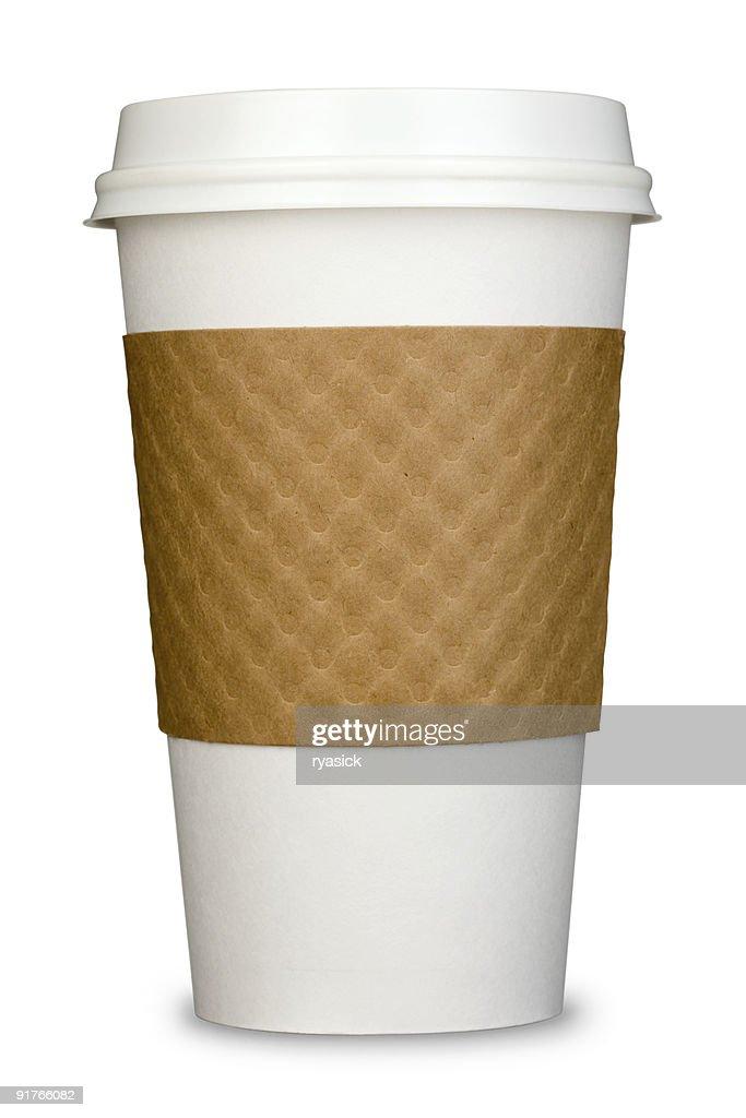 Allgemeiner Papier isoliert Kaffee Becher mit Deckel und Pappe Ärmel : Stock-Foto