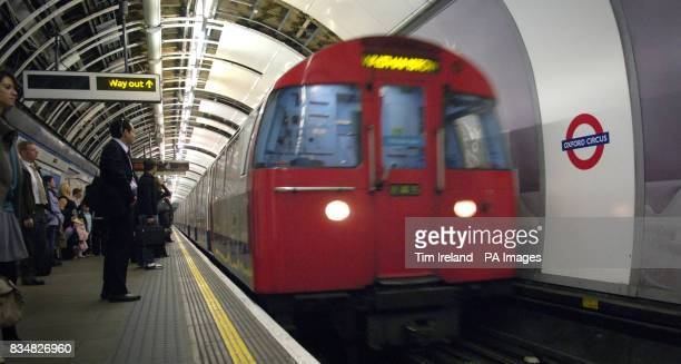 Generic picture of a London Underground train arriving at Oxford Circus station