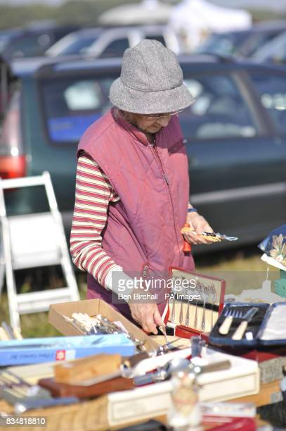 Generic picture of an unidentified woman at a car boot sale at Manor Farm Chedworth Gloucestershire