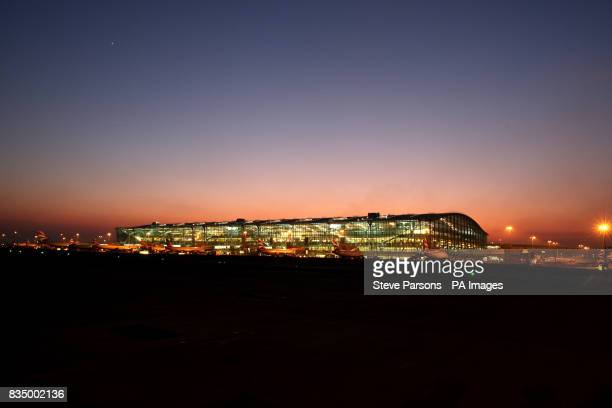 Generic Picture of Terminal 5 at Heathrow Airport at night time taken from the taxiway