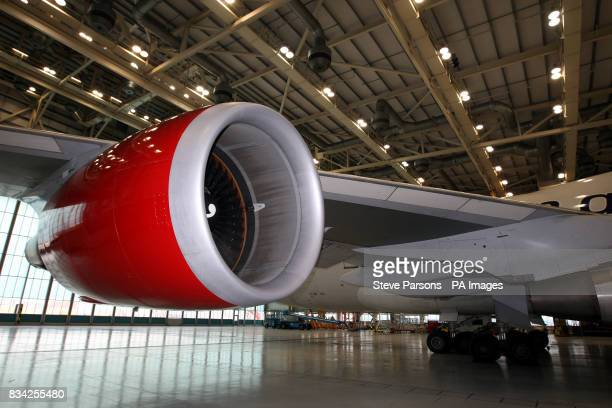 Generic picture of the Biofuel engine attached to the wing of a Boeing 747 in the Virgin Atlantic Hanger