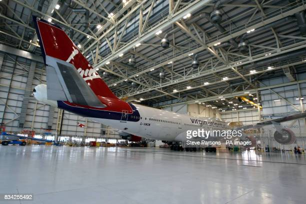 Generic picture of Virgin Atlantic's Boeing 747400 which took the first Biofuel flight by an airline to Amsterdam sits at the Virgin Hanger at...