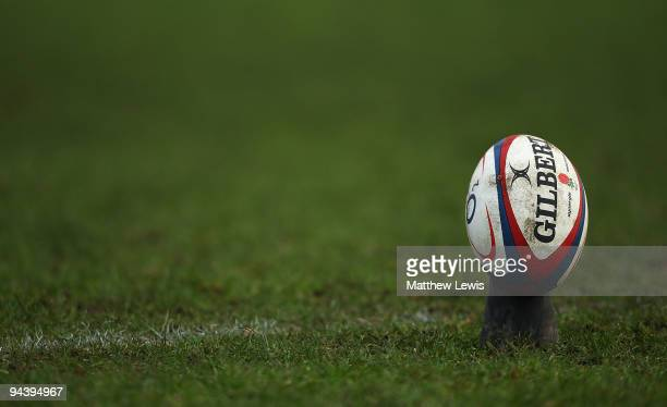 A generic Rugby Ball during the International match between England U18 and Australia Schools at Heywood Road on December 13 2009 in Sale England