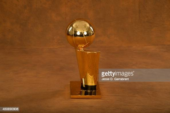 A generic shot of the Larry O'Brien Trophy after the San Antonio Spurs defeated the Miami Heat in Game Five of the 2014 NBA Finals on June 15 2014 at...
