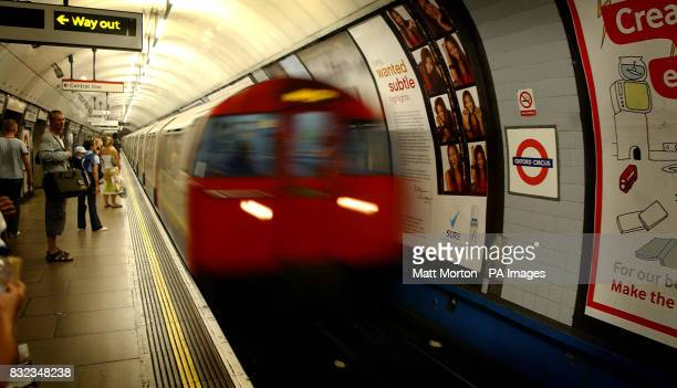 Generic stock picture of a London Underground train arriving at Oxford Circus underground station London