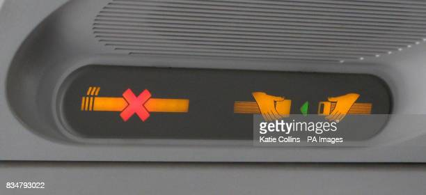 Generic stock picture of a no smoking and a fasten seatbelt sign on an aeroplane