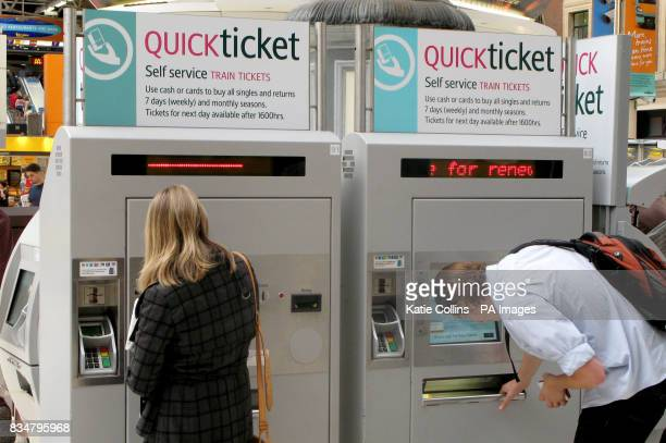 Generic stock picture of people using Quic Ticket machines at Victoria train station London