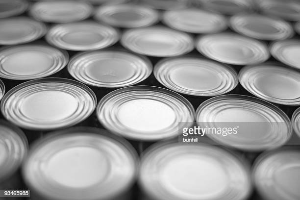 Generic tin cans packed together