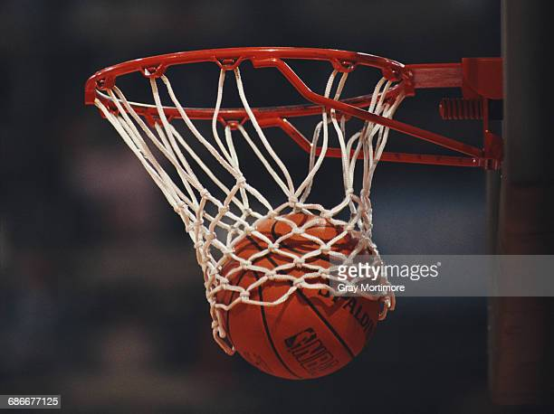 Generic view of a Spalding NBA basketball dropping into the hoop during the FIBA European Basketball Championship on 25 June 1989 at the Dom Sportova...