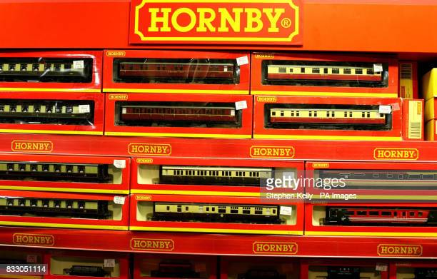 Generic view of Hornby train sets in a toy shop in central London