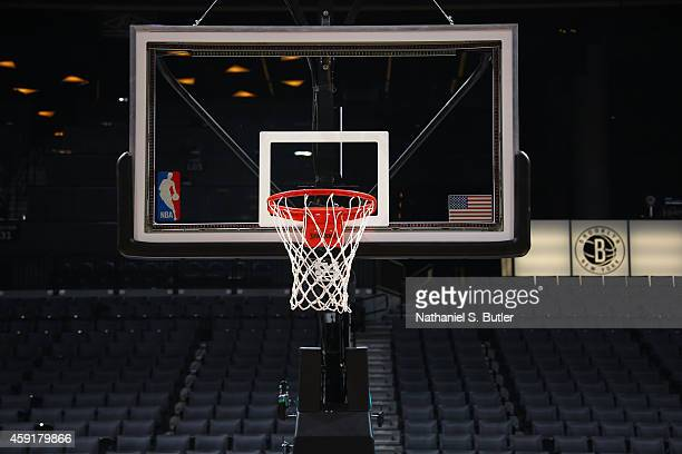A generic view of the basket backboard prior to the game between the Miami Heat and the Brooklyn Nets on November 17 2014 at Barclays Center in...
