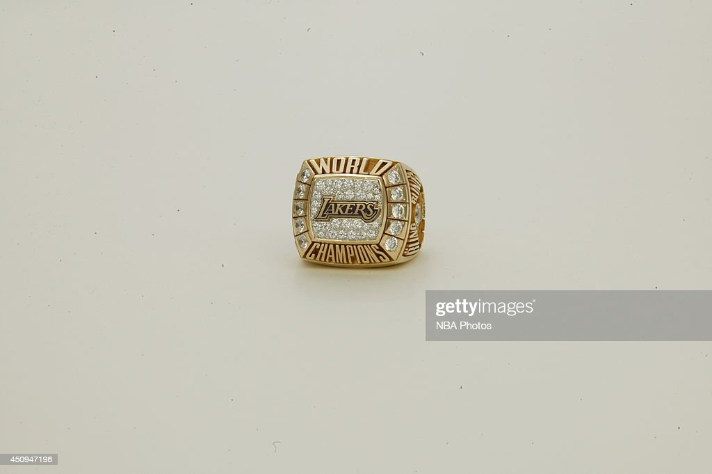 A generic view of the championship ring of 1999-2000 Los Angeles Lakers at NBA Entertainment Studios in Secaucus, New Jersey.
