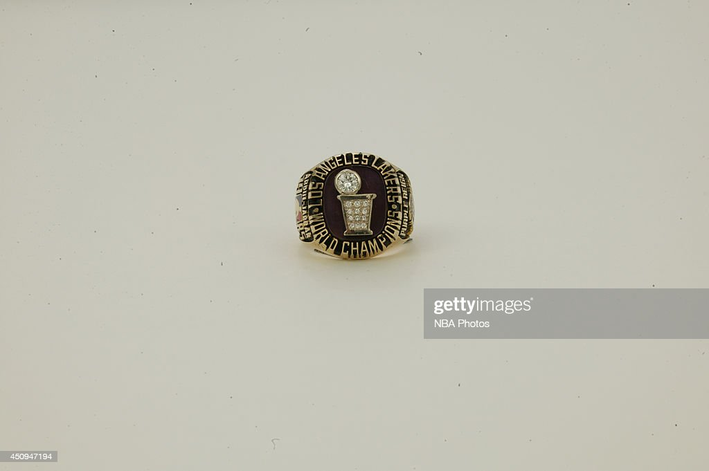 A generic view of the championship rings of the 1984-1985 Los Angeles Lakers at NBA Entertainment Studios in Secaucus, New Jersey.
