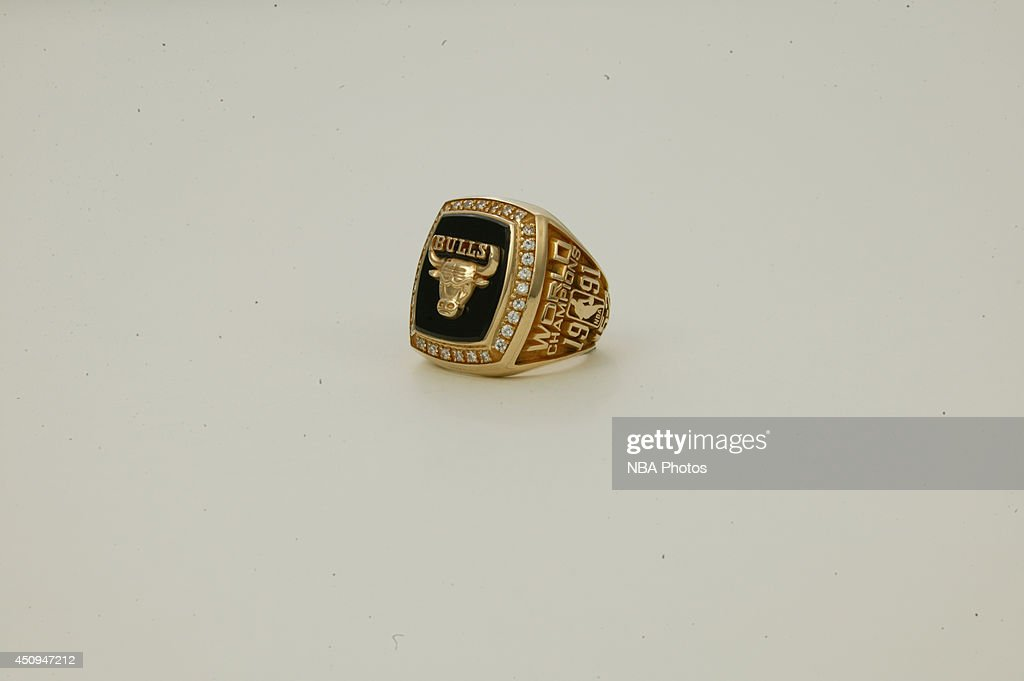 A generic view of the championship rings of the 1990-1991 Chicago Bulls at NBA Entertainment Studios in Secaucus, New Jersey.
