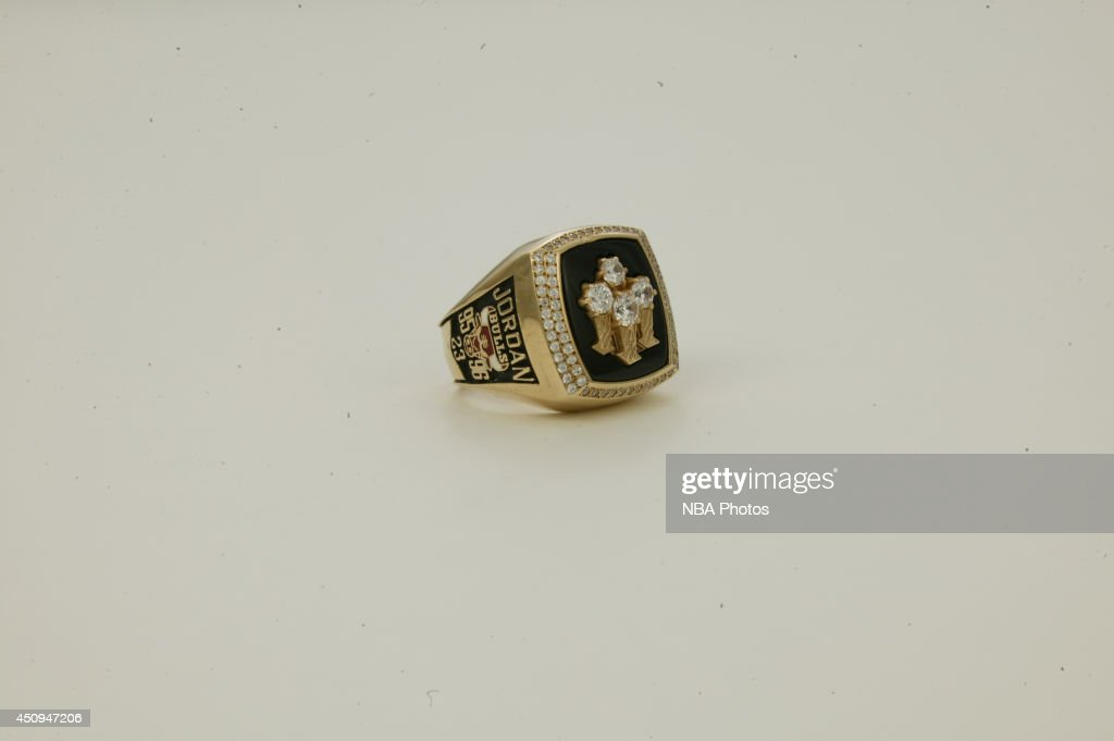 A generic view of the championship rings of the 1995-1996 Chicago Bulls at NBA Entertainment Studios in Secaucus, New Jersey.