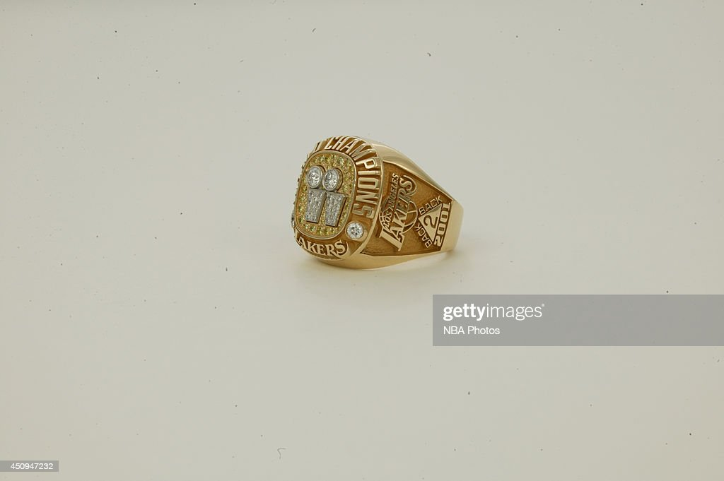 A generic view of the championship rings of the 2000-2001 Los Angeles Lakers at NBA Entertainment Studios in Secaucus, New Jersey.