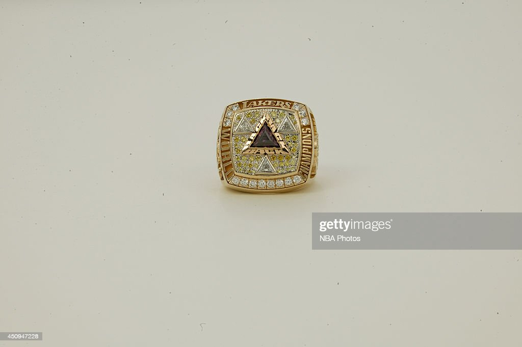 A generic view of the championship rings of the 2001-2002 Los Angeles Lakers at NBA Entertainment Studios in Secaucus, New Jersey.