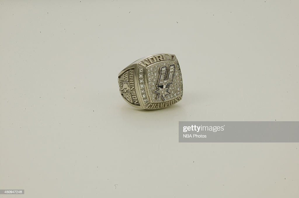 A generic view of the championship rings of the 2002-2003 San Antonio Spurs at NBA Entertainment Studios in Secaucus, New Jersey.