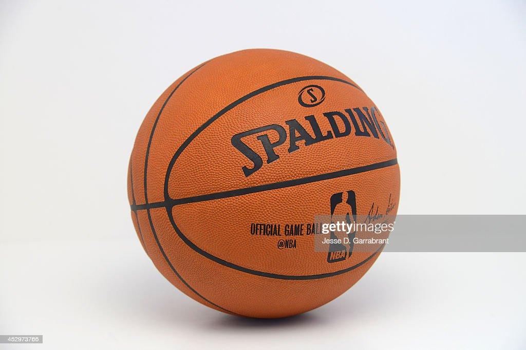 A generic view of the new NBA ball to be used for the 2015 Season. This features the @NBA twitter handle on the ball taken on July 31, 2014 at Point Pleasant, New Jersey.