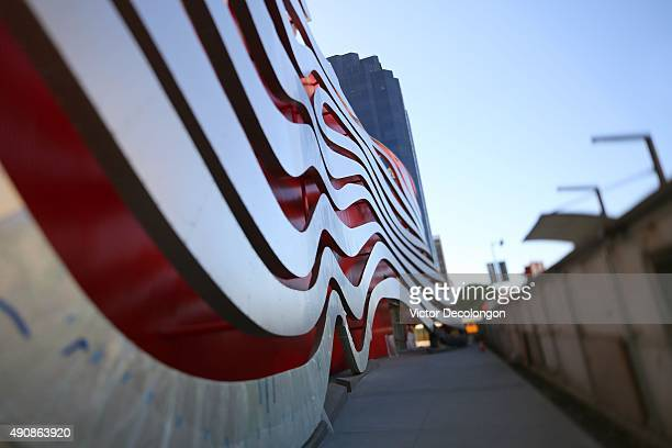 A generic view of the northside exterior of the Petersen Automotive Museum is seen on September 30 2015 in Los Angeles California The Petersen...
