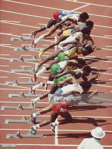 Generic view of the sprint start from a Men's 100 metres heat race during the XII Commonwealth Games on 4 October 1982 at theThe Queen Elizabeth II...