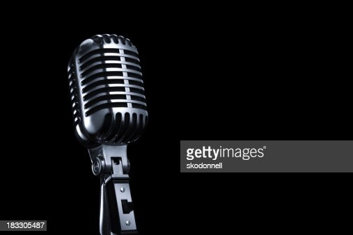 Generic Vintage Microphone on a Black Background