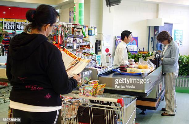 Generic Woolworths supermarket checkout 31 May 2005 AFR Picture by JIM RICE