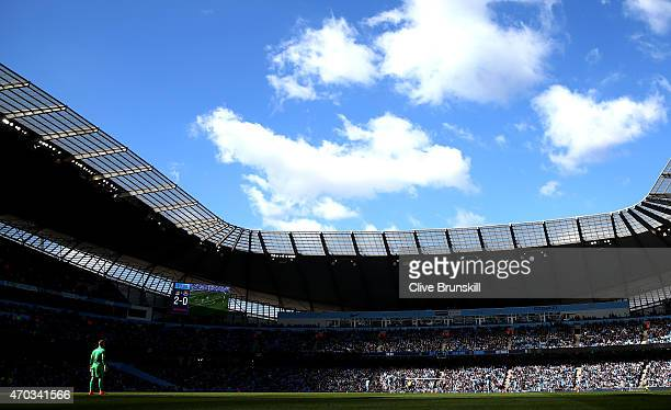 A generla view as Joe Hart of Manchester City waches play during the Barclays Premier League match between Manchester City and West Ham United at...