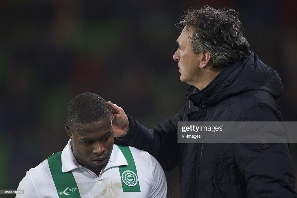 Genero Zeefuik of FC Groningen, coach Robert Maaskant of FC Groningen during the Dutch Eredivisie match between FC Groningen and NAC Breda at the Euroborg on march 08, 2013 in Groningen, The Netherlands
