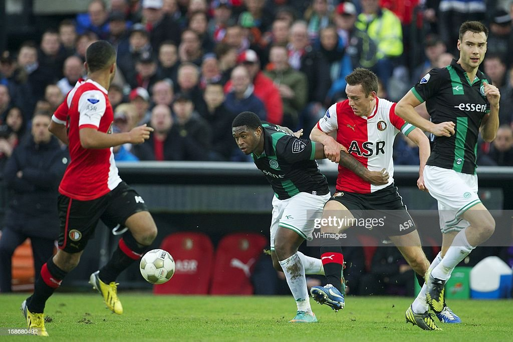 Genero Zeefuik of FC Groningeng, Stefan de Vrij of Feyenoord during the Dutch Eredivise match between Feyenoord and FC Groningen at stadium De Kuip on December 23, 2012 in Rotterdam, The Netherlands.