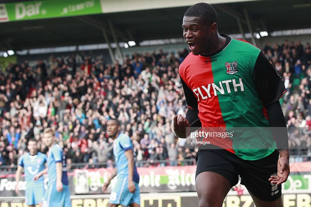 Genero Zeefuik of NEC during the Dutch Eredivisie match between NEC Nijmegen and FC Twente at Stadium De Goffert on March 11 2012 in Nijmegen...