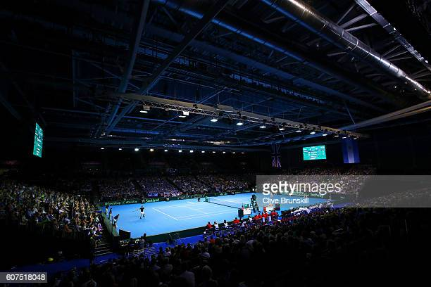 A generqal view of the action as Andy Murray of Great Britain hits a forehand durinng his singles match against Guido Pella of Argentina during day...