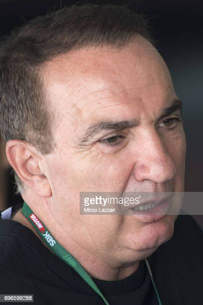 Genesio Bevilacqua of Italy speaks in box during the FIM Superbike World Championship Free Practice at Misano World Circuit on June 16 2017 in Misano...