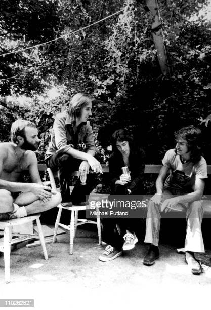 Genesis group portrait London LR Phil Collins Mike Rutherford Steve Hackett Tony Banks