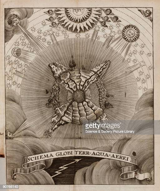 Genesis of the world of the elements between the celestial world of light and the chaotic underworld inspired by engravings in Athanasius Kircher's...