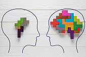 Genetic Brain disorder. Health and ailing brain. Mental health and mental disorder concept. Heads with shapes of abstract brain. Two human heads silhouette with small and big brain. Brain Diseases.