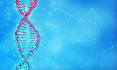 DNA helix and molecular structure in blue background,3d illustration
