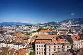 Eastern part of Geneva, aerial view