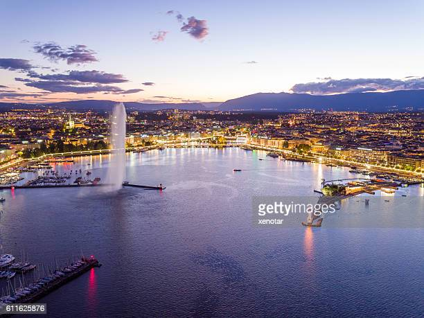 Geneva cityscape from aerial view