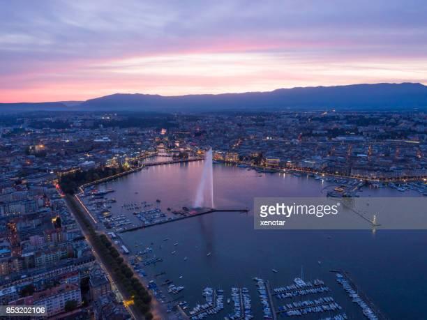 Geneva cityscape in sunset