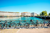 Bicycles on the riverside in the center of Geneva city in Switzerland