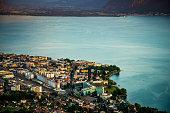 A beautiful view of Montreux besides Lake Geneva in the summertime. Geneva lake coastilne . Switzerland