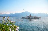 Geneva lake Embankment and excursion ship, Montreux, Switzerland